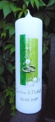Hochzeitskerze Grün auch Silberhochzeit oder Goldene Hochzeit 815